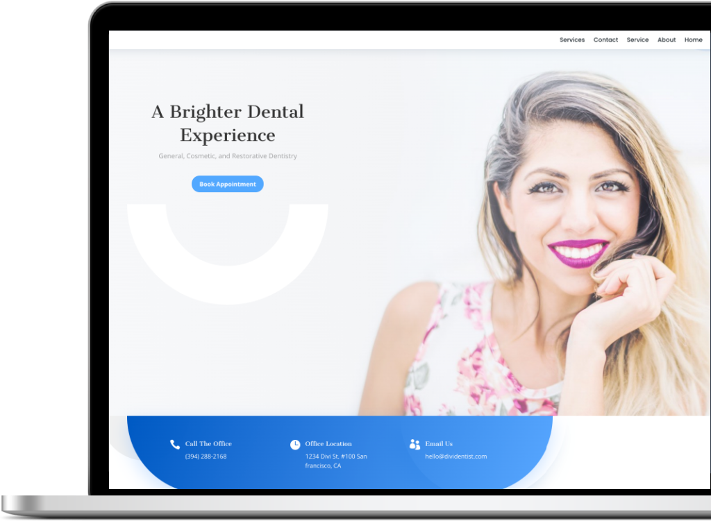 Website Design for dentists featuring a woman with a bright smile