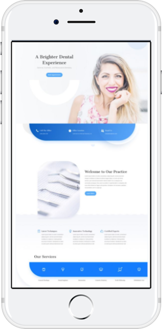 Mobile website design featuring a landing page with company details with a smiling woman