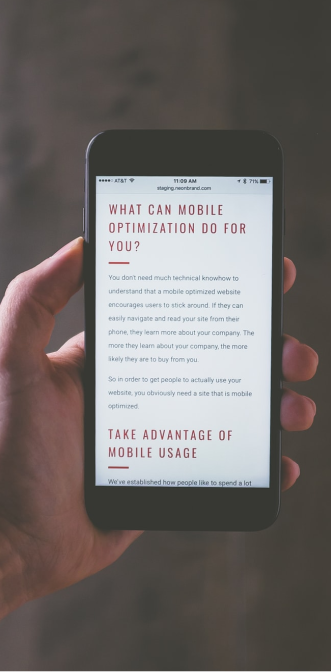 Mobile SEO optimization on iPhone in man's hand